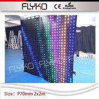 P70mm konzert kulissen faltbare led video tuch led vision vorhänge Weihnachten dekoration led video vorhang 2 mt * 2 mt-in Bühnen-Lichteffekt aus Licht & Beleuchtung bei