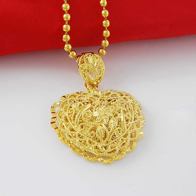 Fascinating Design 24K Gold Pendant Necklace Combine Flower And Love Heart Shape Together Beads Necklace For Women/Girls