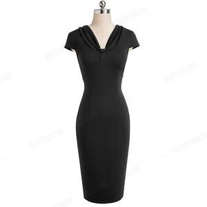 Image 4 - נחמד לנצח אלגנטי בציר טהור צבע שווי שרוול vestidos המפלגה עסקי Bodycon משרד עבודת נשים נשי שמלת B503