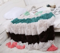 Big Plaids Color Blankets Super Soft Thicken Cashmere Long Shaggy Fuzzy Fur Faux Warm Elegant Cozy Fluffy Sherpa Throw Bed Cover