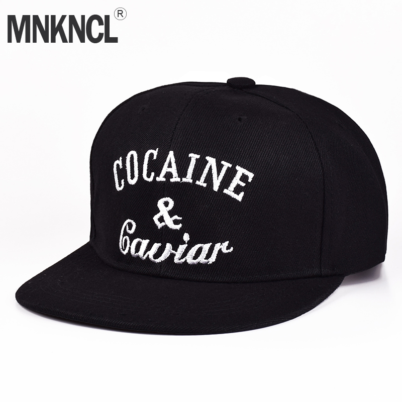 MNKNCL 2018 New Brand Fashion Baseball Hats Adjustable Snapback Cap Cocaines & Caviar Hip Hop Caps Black Bone For Men And Women brand nuzada snapback summer baseball caps for men women fashion personality polyester cotton printing pattern cap hip hop hats