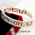 Brand Design Rose Gold Plated Austrian Rhinestones Inlays Paved G Retro Rome Style Lady Bangle Bracelet Wholesale
