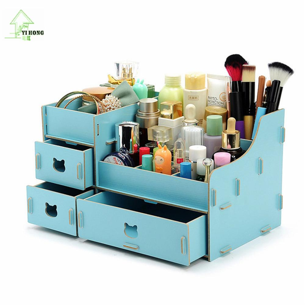 Large New Wooden Storage Box Diy Crates Toy Boxes Set: YIHONG Make Up Organizer 3 Drawers Wooden Storage Box Pen