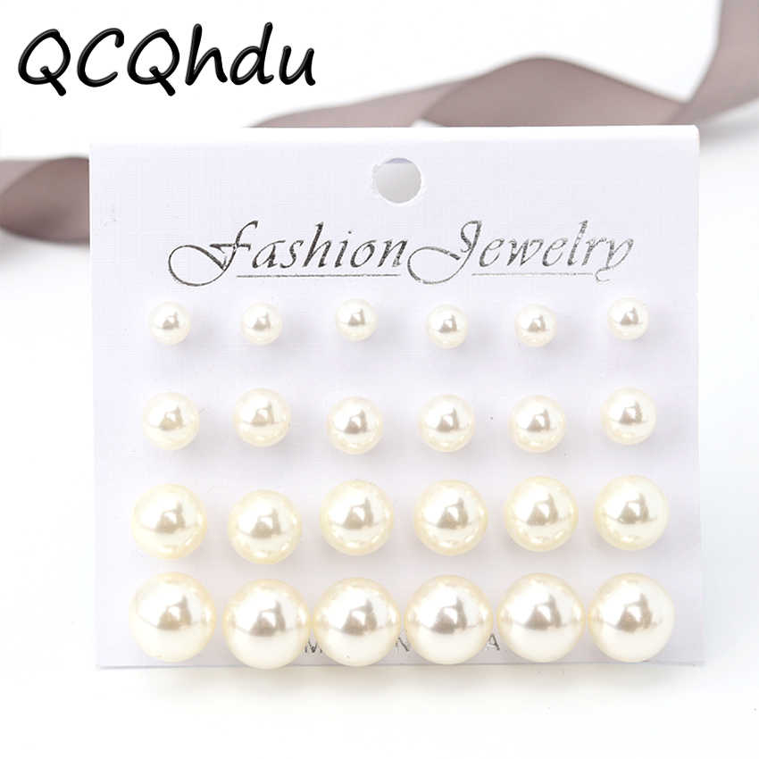 12Pair/1 Set Hot Sale Simulated Pearl Earrings for Women Jewelry Girls Bijoux 4 Sizes Simulated Pearl Stud Earrings