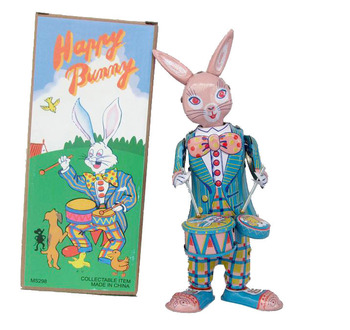 [Funny] Classic collection Retro Clockwork happy bunny rabbit Wind up Metal Walking Tin play drum rabbit robot Mechanical toy