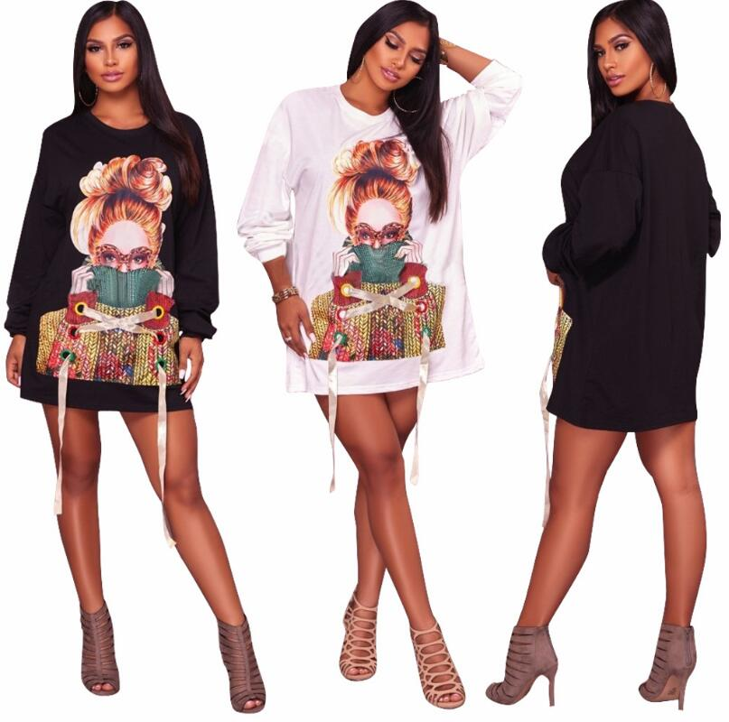 Winter Character Printed For Women Long Sleeve T-Shirt Dress Women 2017 Lace up Cotton Long Tops Loose Tunic Dresses Mini Dress