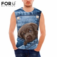 FORUDESIGNS Cute Dog Denim 3D Printed T Shirt Men No Sleeves Football Cloth O Neck Sport