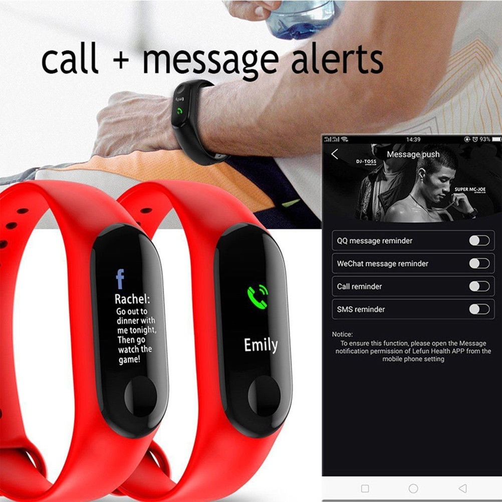 Image 5 - Smart Watch M3Plus Waterproof Smart Sports Bracelet Phone Bluetooth Heart Rate Monitor Fitness Smart Wristband For Android IOS-in Smart Wristbands from Consumer Electronics