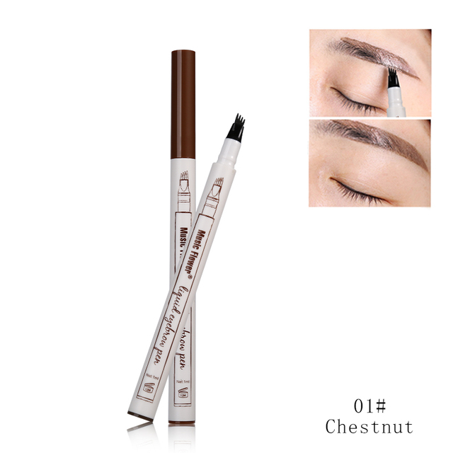 3 Colors Music Flower Brand Makeup Fine Sketch Liquid Eyebrow Pen Waterproof Tattoo Super Durable Eye Brow Pencil Smudge-proof