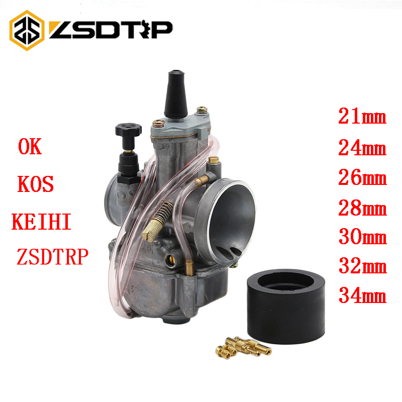 ZSDTRP Motorcycle Keihin Koso OKO Motorcycle Carburetor Carburador 21 24 26 28 30 32 34 Mm With Power Jet For Most 2T 4T Moto