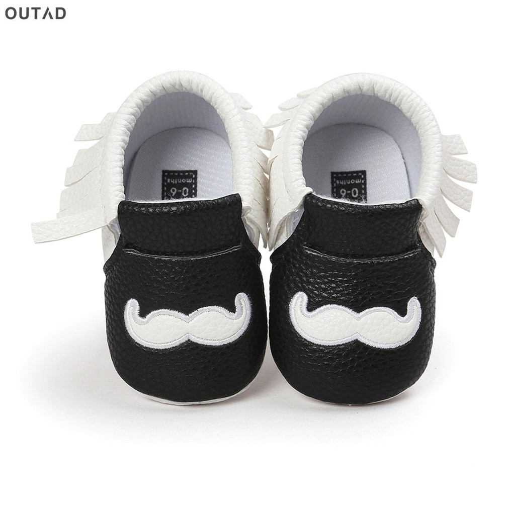 Infant Baby Boys Girls Shoes Tassel Mustache Print Newborn Shoes Anti-slip Soft Soles nfants Crib Shoes Sneakers First Walkers