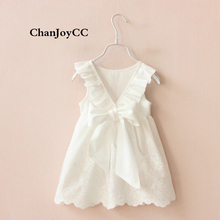 Children Girls Princess Dress Summer New Fashion Kids Sleeveless Solid White Cute Dress Children Clothing