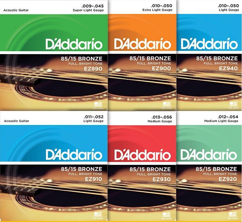D'Addario ग्रेट अमेरिकन ब्रॉन्ज 85/15 ध्वनिक गिटार स्ट्रिंग्स, यूएसए में बनाया गया EZ910 EZ890 EZ900 EZ90020 EZ9300