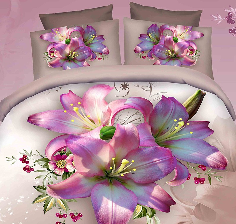 3d Pink Purple Floral Bedding Set Duvet Cover Super King
