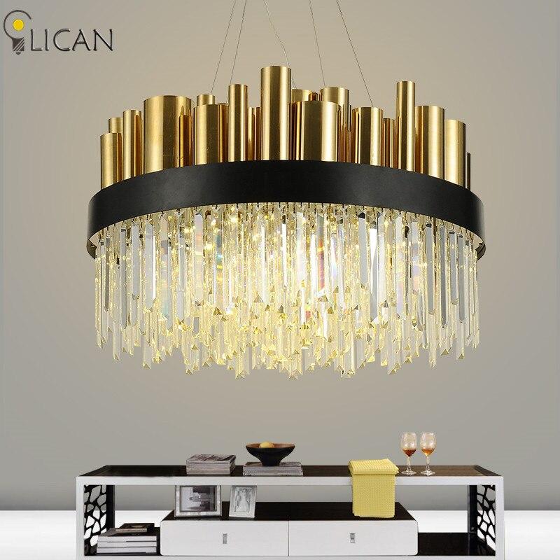 LICAN пост-Современная роскошь хрустальная люстра для лобби гостиная вилла золото висят люстры, светильники home decor