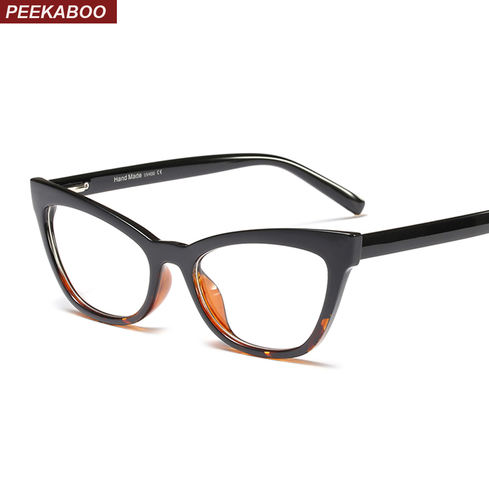 Peekaboo cat eye eyeglasses transparent frame leg spring ladies fashion glasses women clear lens black leopard blue