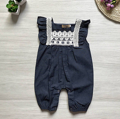 2017 Summer Toddler Newborn Baby Girls Lace Romper Jumpsuit Denim Pants Shorts Playsuit Outfit 0-24M Clothing fashion 2pcs set newborn baby girls jumpsuit toddler girls flower pattern outfit clothes romper bodysuit pants