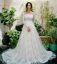 Luxury Soft Lace Wedding Dresses White Square Collar Neck Off The Shoulder A Line Long Sleeves Elegant Lace Up Bridal Gowns 2019