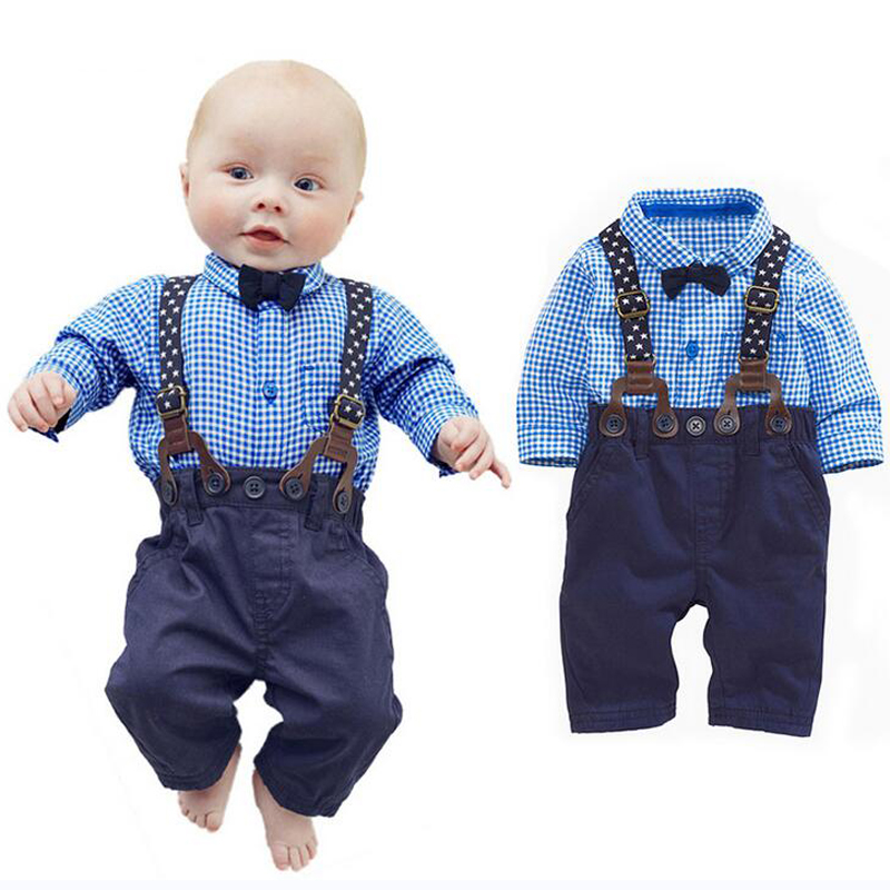 New Spring and Summer Baby Boy Clothing Set Gentleman Newborn Clothes Set Bow Plaid Long Sleeve Shirt + Overalls Baby Suit XL131 2018 spring newborn baby boy clothes gentleman baby boy long sleeved plaid shirt vest pants boy outfits shirt pants set