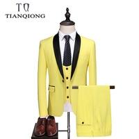 TIAN QIONG 2019 Classic Men Suits for Wedding Elegant 3 Piece Men's Formal Suits Set Yellow Gentleman Mens Dress Suits S 5XL
