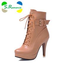 2cc5892d1 S. Romance talla grande 31-43 nueva moda punta redonda cuadrada de tacón  alto botines de invierno botas de mujer Zapatos negro m.