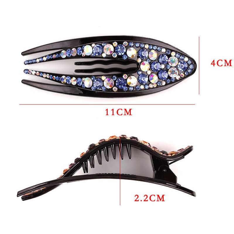 Kryształ koreański spinka do włosów dla kobiet kaczy dziób korzystając z łączy z boku klip do włosów dżetów spinka do włosów dziewczyna ślubne nakrycia głowy peruki imprezowe akcesoria