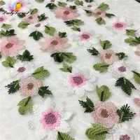 1 quintal Flor Guarnição Do Laço Bordado DIY Tecido Patchwork Lace Applique para Acessórios De Costura Artesanal de Confecção de malhas Do Laço para a Roupa