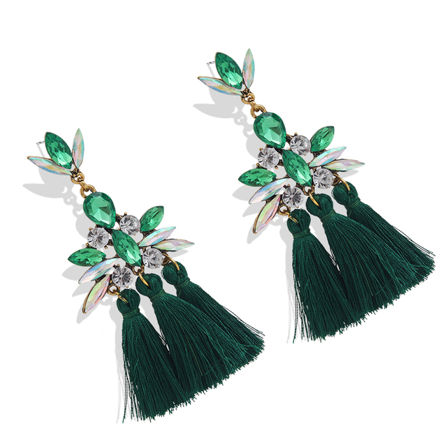 AE-CANFLY Luxury Brand Rhinestone Tassel Earring For Women Party Wedding Dangle Drop Earring brincos Fashion Ear Jewelry  5