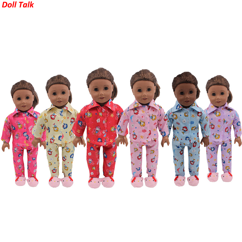Doll Talk 6 Colors Animal Doll Pajamas 18-inch American Mermaid Girl Clothes For Cute Baby Toy Dolls Clothes For BJD Doll