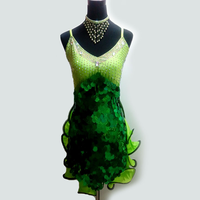 New Style Latin Dance Costume Sexy Sequins Diamond Latin Dance Dress For Women Latin Dance Competition Dresses S-4XL