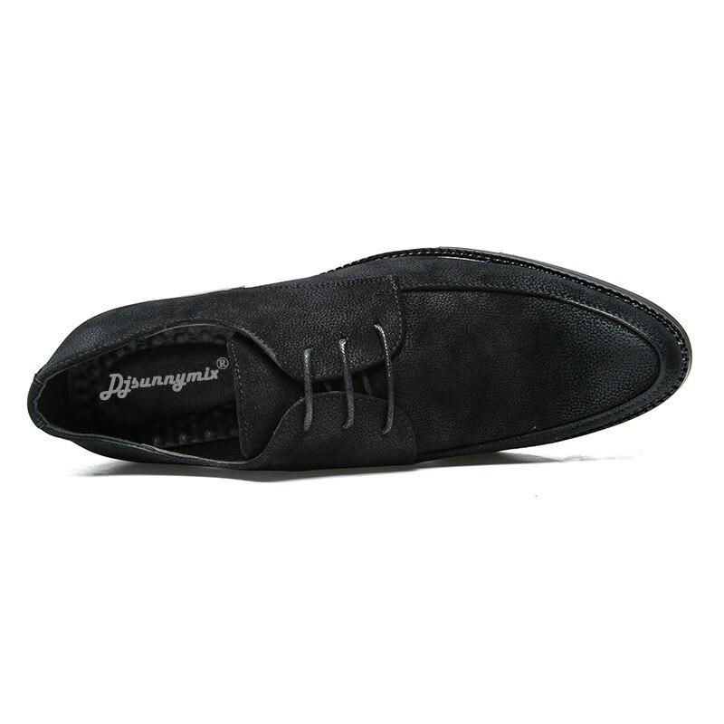 À Rétro Djsunnymix Mocassins Noir Cuir Appartements Chaussures Lacets Hommes Oxford Marque Homme Nubuck En mO8ynwNv0