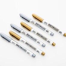 36 adet/grup Metalik el sanatları işaretleyici kalem Altın Gümüş renk imza kalem çizim yazma seramik kumaş Okul malzemeleri FB931