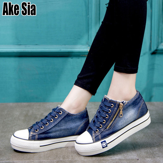 Ake Sia Classic Women Girl Fashion Casual Vintage Washed Denim Canvas Flat Platform Thicken Soled Lace-Up Plimsolls Shoes A155