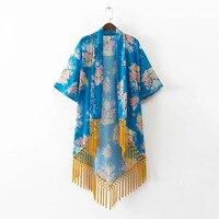 Borla Étnica Kimono Informal Camisas de Las Mujeres 2017 Nuevo Verano Blusas blusa femenina Rebeca Floja de La Vendimia de las Impresiones Florales de Las Mujeres de Playa
