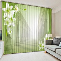 Photo Custom Size 3D Blackout Bedroom Curtains Green Flower Lily Patterned Window Curtains Valance Curtains For Living Room