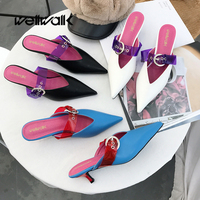 Wellwalk Pointed Toe Mules Women Slippers Stiletto Low Heel Slippers Ladies Mules Buckle Strap Slides Women Close Toe Sandals