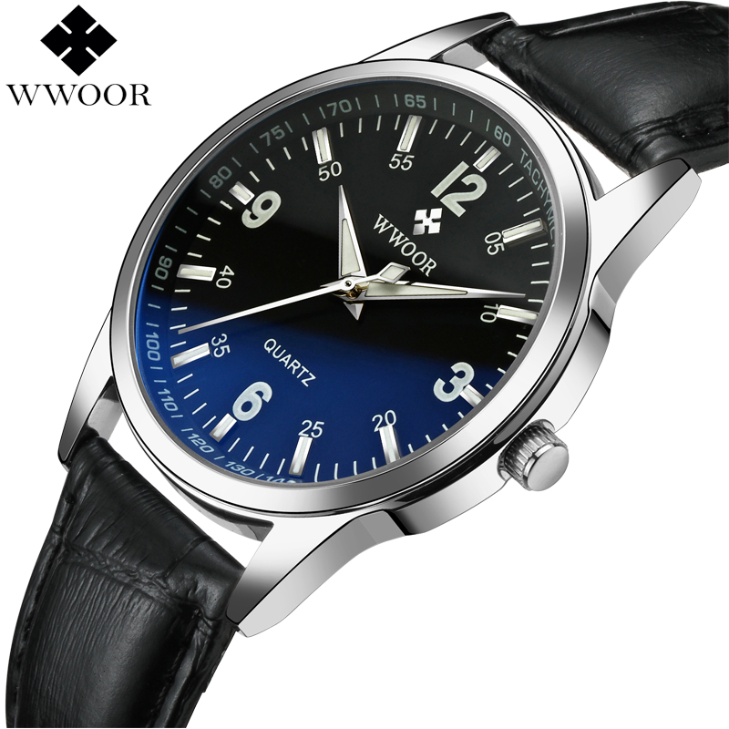 WWOOR Brand Luxury Blue Glass Men Waterproof Quartz Watch Men Glow Analog Clock Male Leather Sport Wrist Watch relogio masculino super speed v0169 fashionable silicone band men s quartz analog wrist watch blue 1 x lr626
