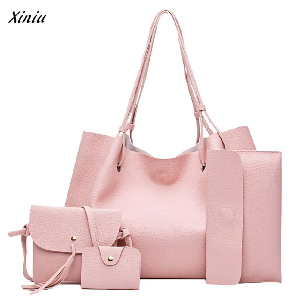 xiniu 4pcs Women Fashion Four Sets Women Leather Bag One shoulder bags Purse bolsa feminina Leather Backpacks Womens