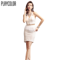 PLAYCOLOR White Short Cocktail Dresses Prom Feather Design Sleeveless Backless Prom Dress Girl Cocktail Party Dress