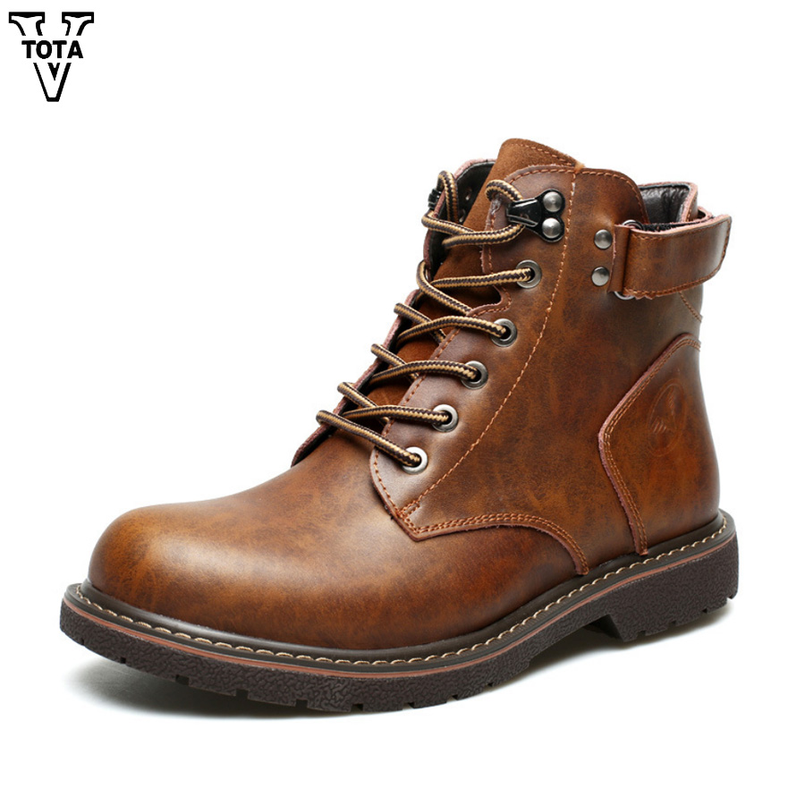 VTOTA Handmade 100% Genuine Leather Boots Men High Quality Martin Boots High Top Botas Homme Outdoor Casual Men Winter Shoes 2017 genuine leather martin boots fur martin high top casual shoes men boots over the knee botas brand motorcycle boots