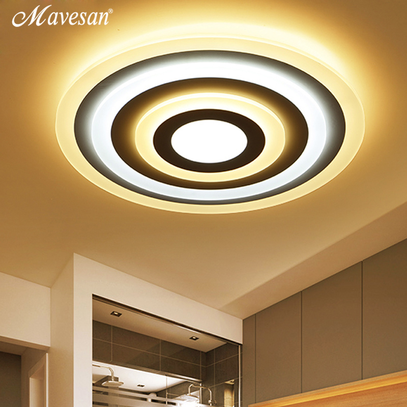 Mavesan LED Ceiling Lights round Acrylic For Living Room Bedroom iluminacion Surface mounted Square Ceiling Lamp Fixtuers noosion modern led ceiling lamp for bedroom room black and white color with crystal plafon techo iluminacion lustre de plafond