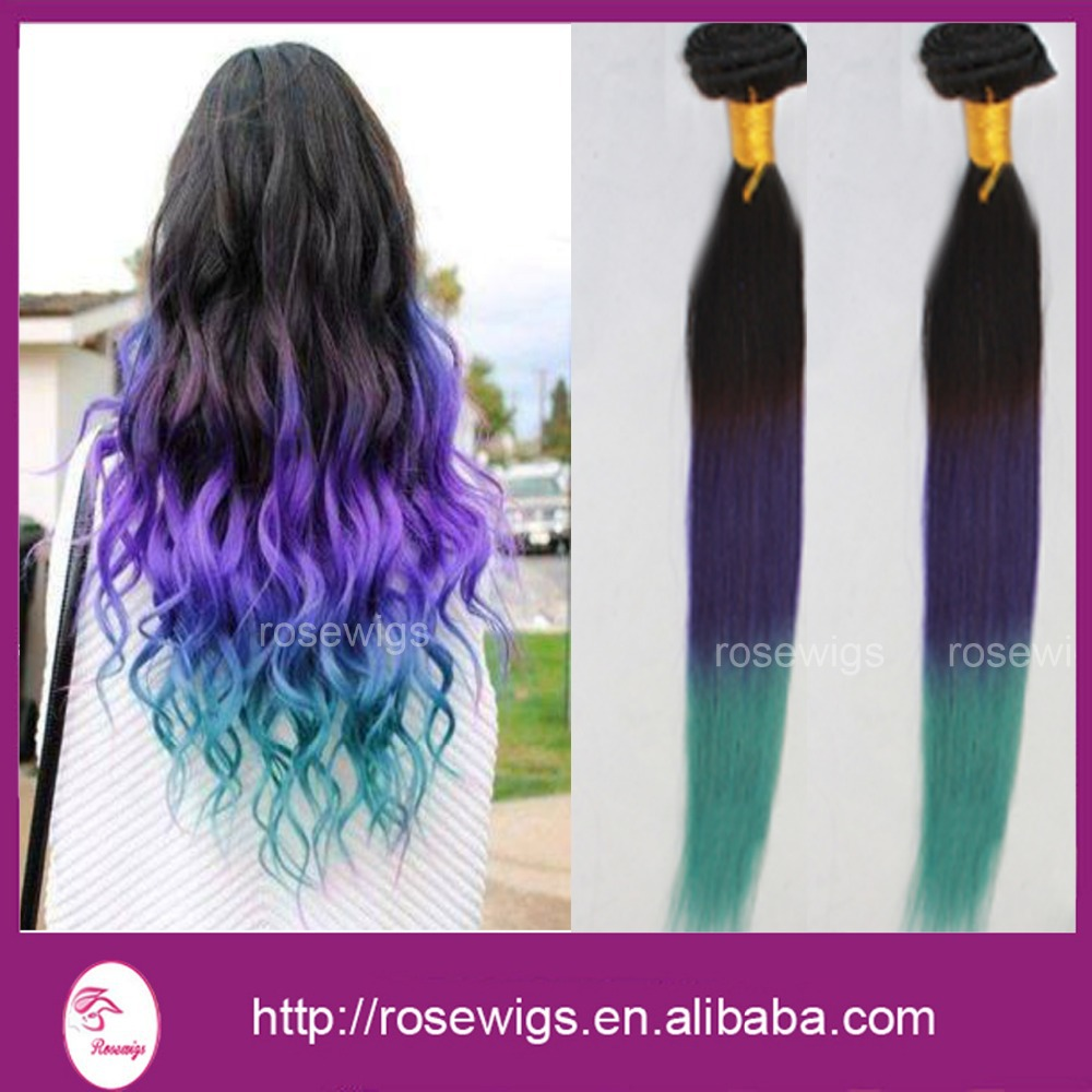 Straight Hair Products Three Tone 3bundles Ombre Black Purplegreen