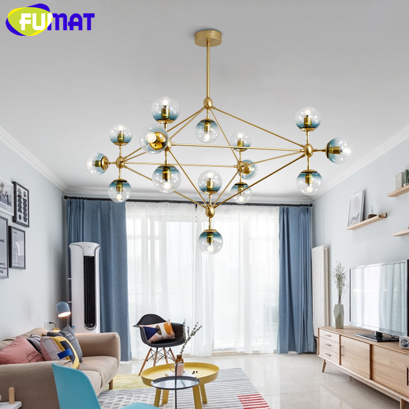 FUMAT 10 15 21 Heads Bulbs Bubble Glass Ball Modo Magic Bean LED Pendant Lights Dining Room DNA Lustres Modern Lighting Fixtures modern magic bean dna molecules chandelier pendant lamp dna lamp modern glass ball lamps with 10 bulbs