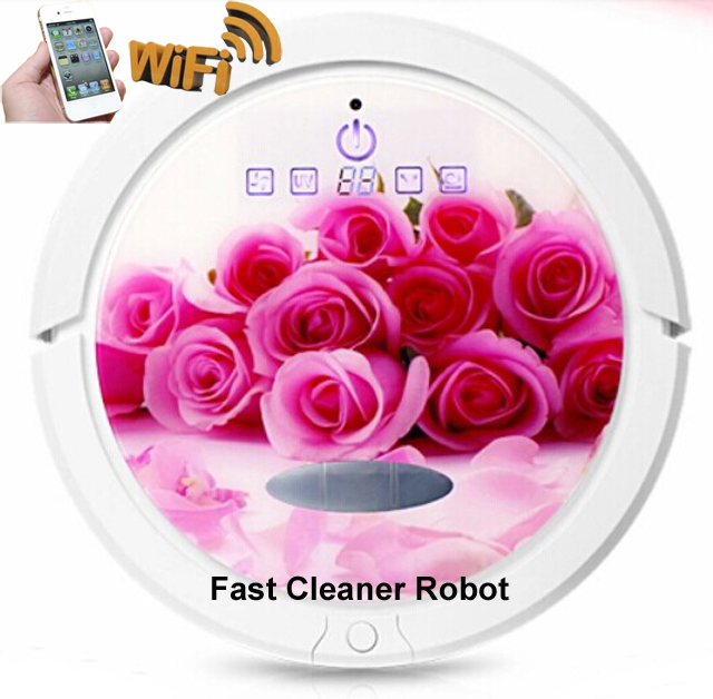 WIFI Smartphone APP Control Wireless Wet and Dry Vacuum Cleaner Robot With Water Tank,Self-Charging,Schedule,UV