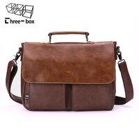 Three box Brand Leather Men Handbags Business Briefcase Vintage Crossbody Shoulder Bag Male Messenger Bag Leather Office Tote A4