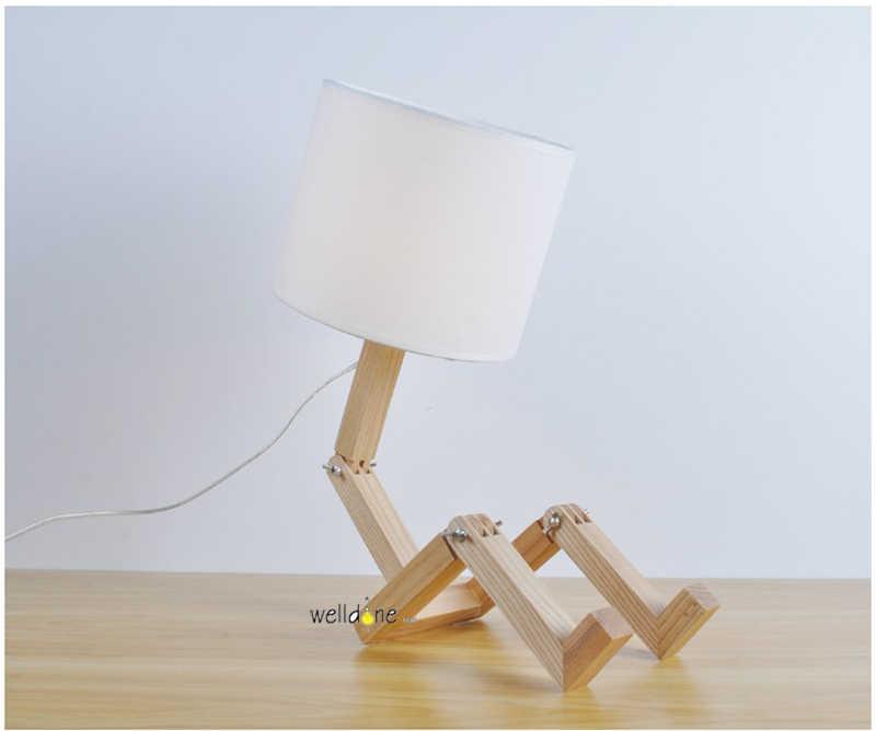 Скандинавский Деревянный робот Складная Творческая настольная лампа для детей, для учебы, украшения в спальню, прикроватная настольная лампа со светодиодной лампочкой 3 Вт