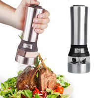 2 in 1 Electric Seasoning Grinding Salt Pepper Grinder Acrylic Muller Tool Kitchen Seasoning Grinding Tool Stainless Steel