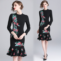 2019 New Arrival Vintage Trumpet / Mermaid Floral Full Embroidery Knee length Regular dress