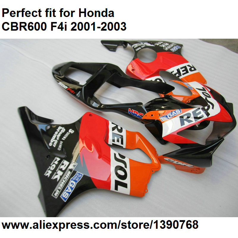 Aftermarket body <font><b>parts</b></font> fairings for <font><b>Honda</b></font> CBR 600 F4i 2001 2002 2003 red black fairing kit <font><b>CBR600F4i</b></font> 01 02 03 OL120 image