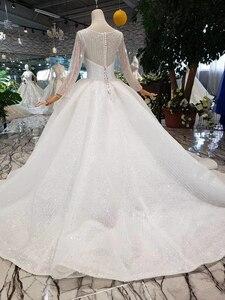 Image 2 - HTL346 nuovo Abito Da Sposa come il bianco piazza collo pulsante indietro lungo tulle maniche abito da sposa con velo da sposa бохо платье